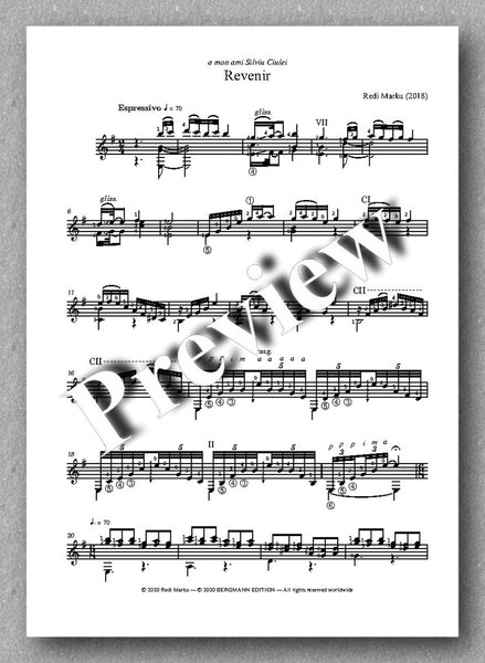 Revenir by Redi Marku - preview of the music score 1