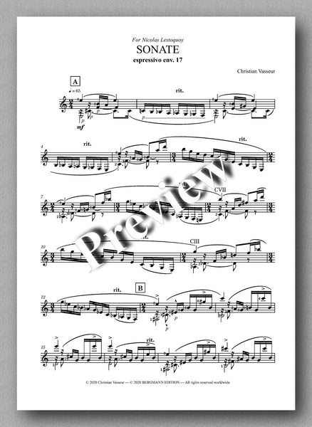 Sonate by Christian Vasseur - preview of the the music score 1