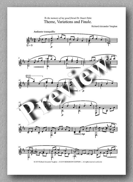 Richard Alexander Vaughan, Theme, Variations and Finale - preview of the music score 1