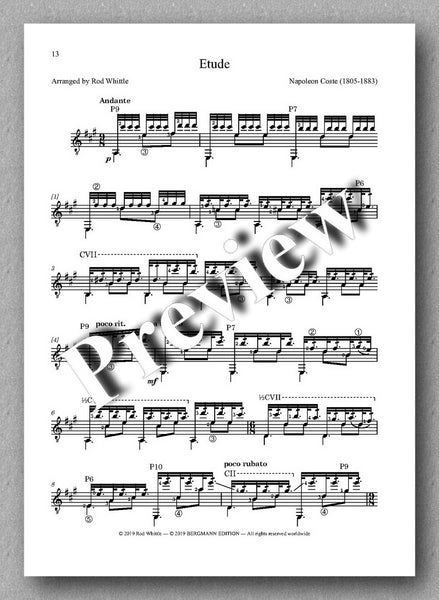 Three tremolo pieces arranged for solo guitar by Rod Whittle. Preview of the music score 3