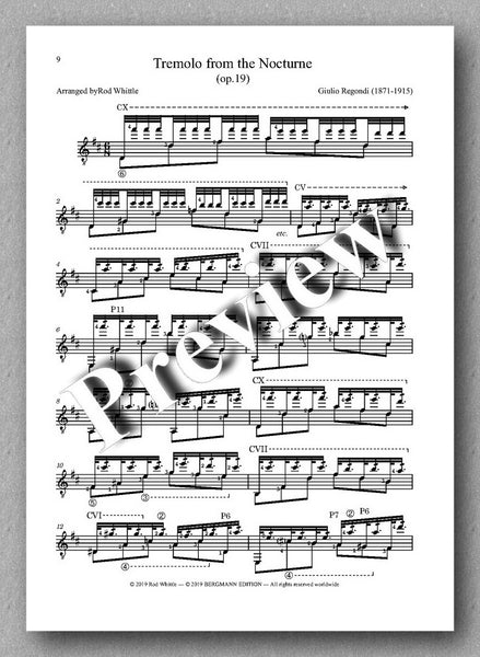 Three tremolo pieces arranged for solo guitar by Rod Whittle. Preview of the music score 2