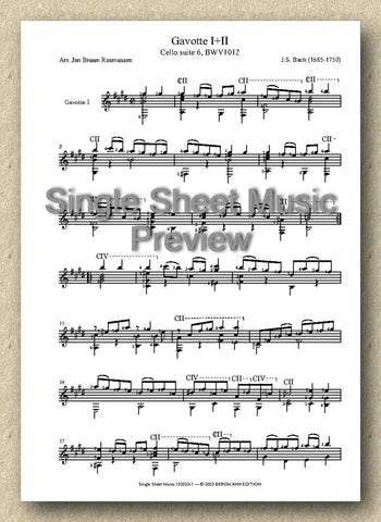 Bach BWV 1012, Gavotte I+II (Single Sheet Music)