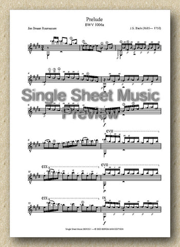 Bach BWV 1006a, Prelude (Single Sheet Music)