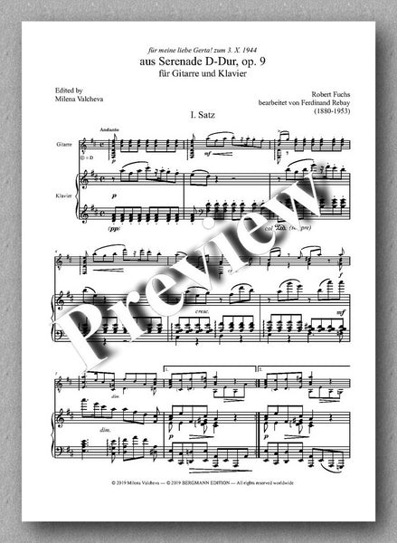 Ferdinand Rebay, Fuchs - Serenade - preview of the music score