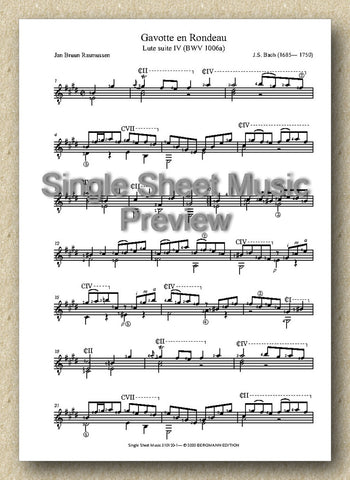 Bach BWV 1006a, Gavotte en Rondeau (Single Sheet Music)
