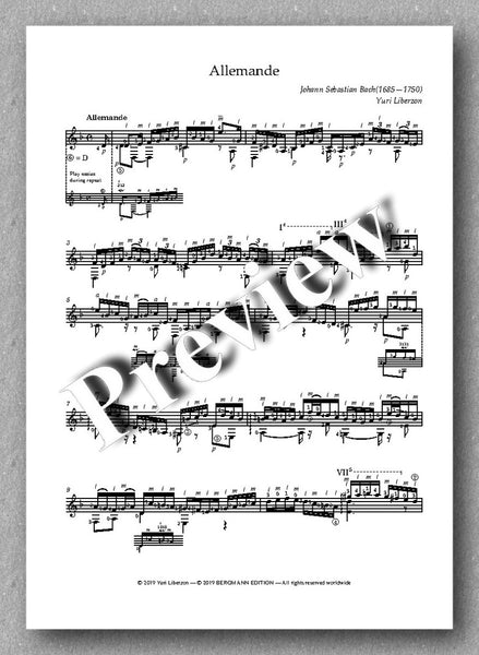 J.S.Bach, Partita No. 2,  BVW 1004 - preview of the music score 1