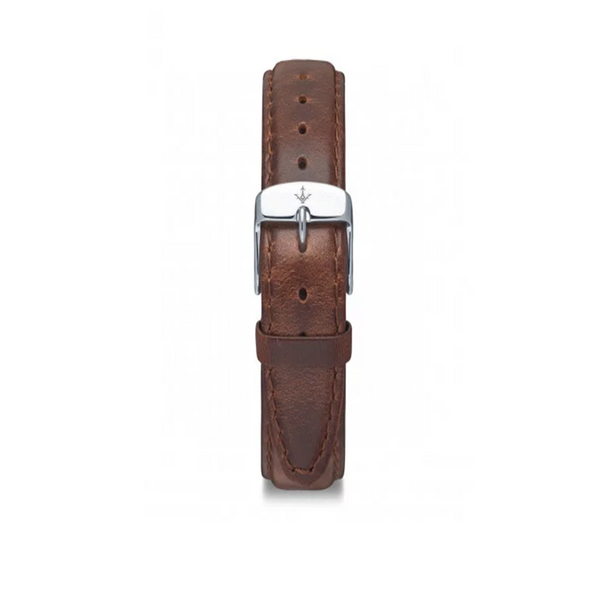 BROWN LEATHER STRAP SILVER - Dreizack Jewelry