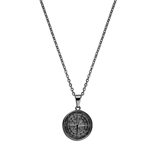 COMPASS PENDANT NECKLACE BLACK - Dreizack