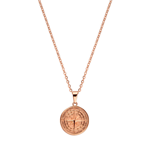 COMPASS PENDANT NECKLACE ROSE GOLD - Dreizack Jewelry