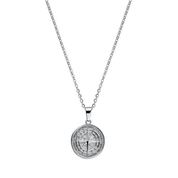COMPASS PENDANT NECKLACE SILVER - Dreizack