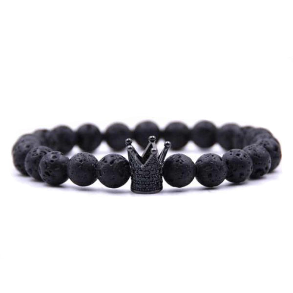 'CROWN' LAVASTONE BRACELET BLACK - Dreizack Jewelry