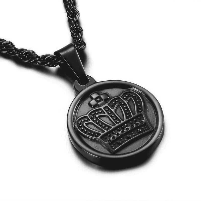 CROWN MEDAL NECKLACE BLACK - Dreizack Jewelry