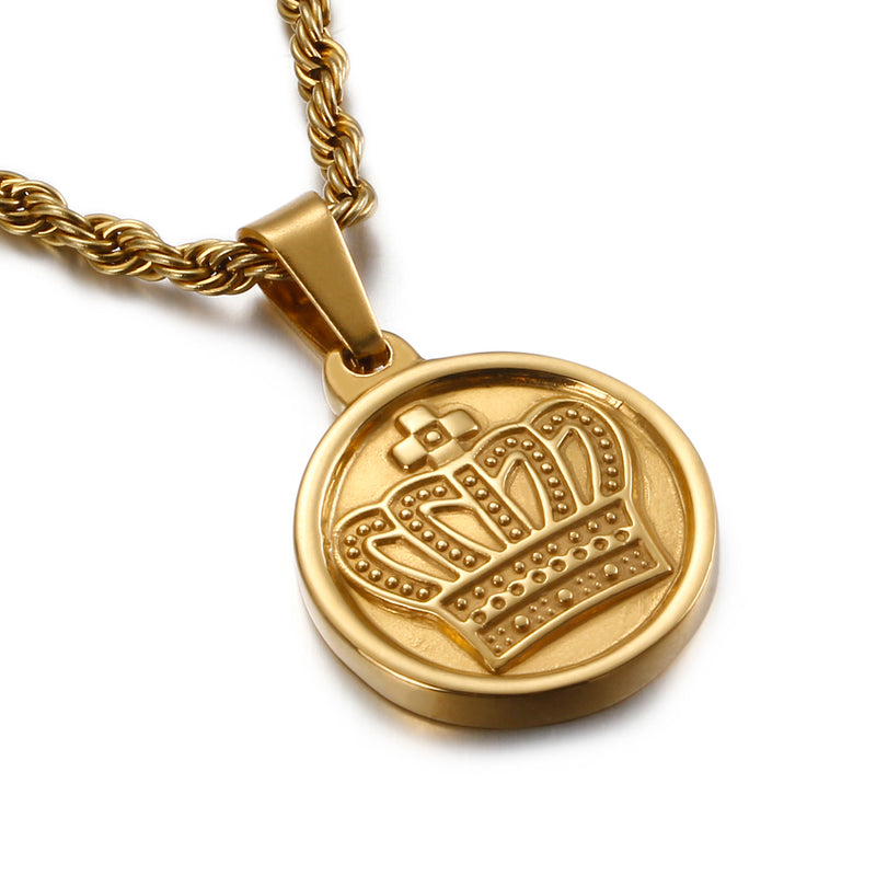 CROWN MEDAL NECKLACE GOLD - Dreizack Jewelry