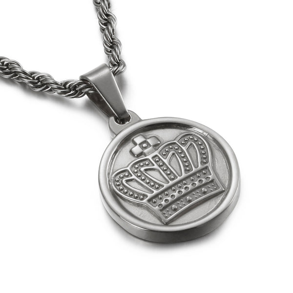 CROWN MEDAL NECKLACE SILVER - Dreizack Jewelry