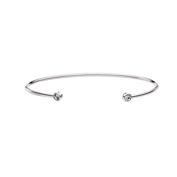 DIAMOND BANGLE SILVER - Dreizack Jewelry