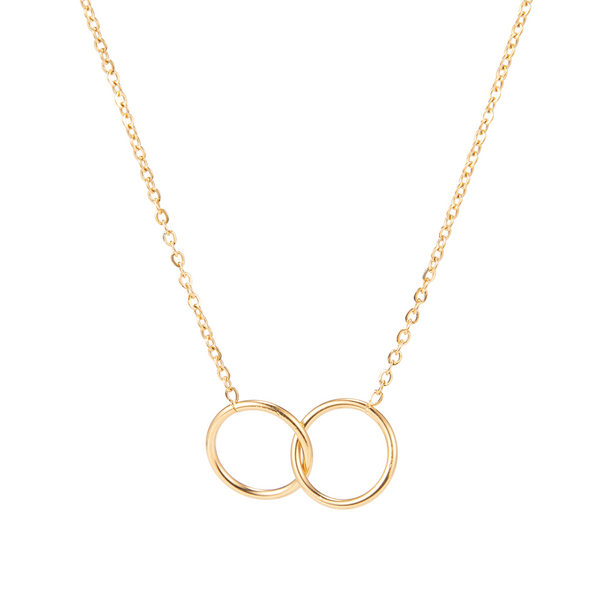 dreizack double circle necklace gold halskette