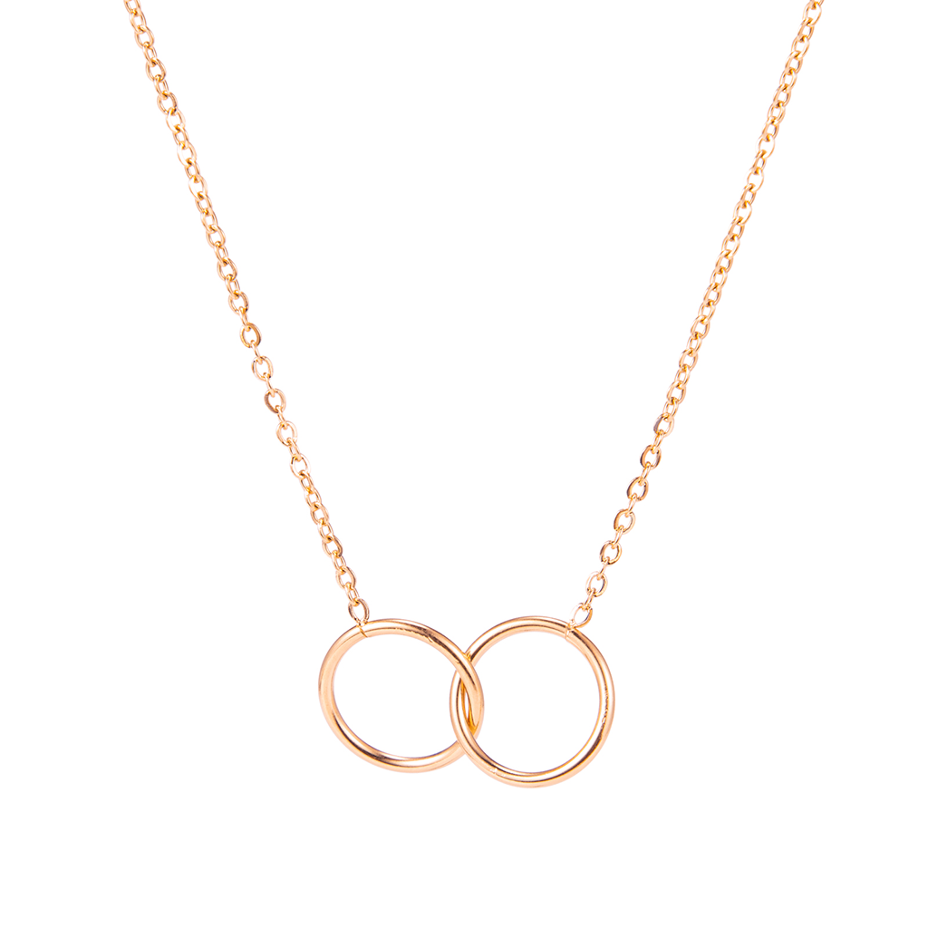 dreizack double circle necklace rosegold halskette