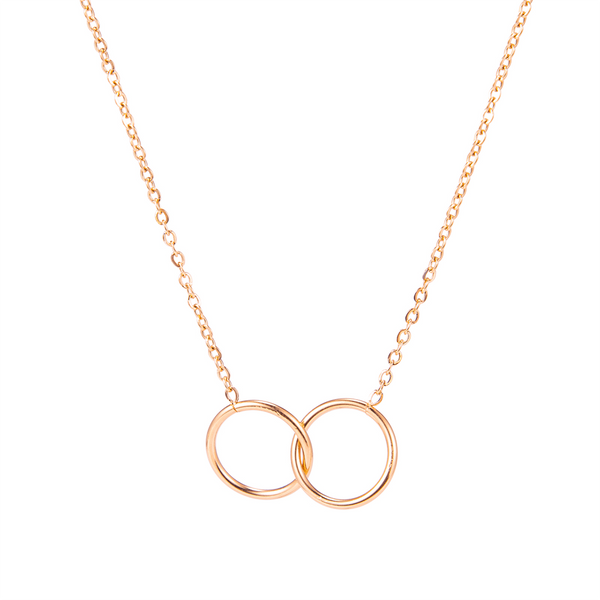 DOUBLE CIRCLE NECKLACE ROSE GOLD - Dreizack Jewelry