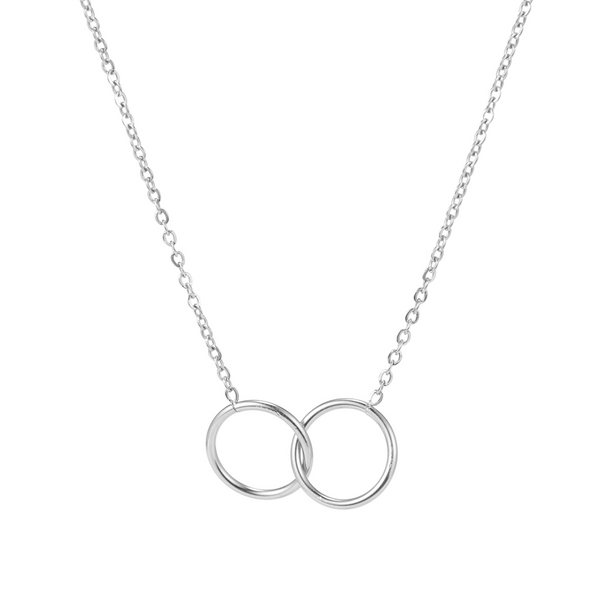 dreizack double circle necklace silver halskette