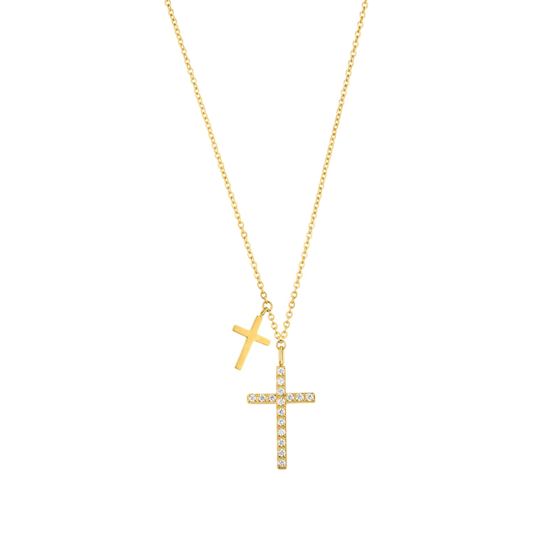 DOUBLE CROSS NECKLACE GOLD - Dreizack Jewelry
