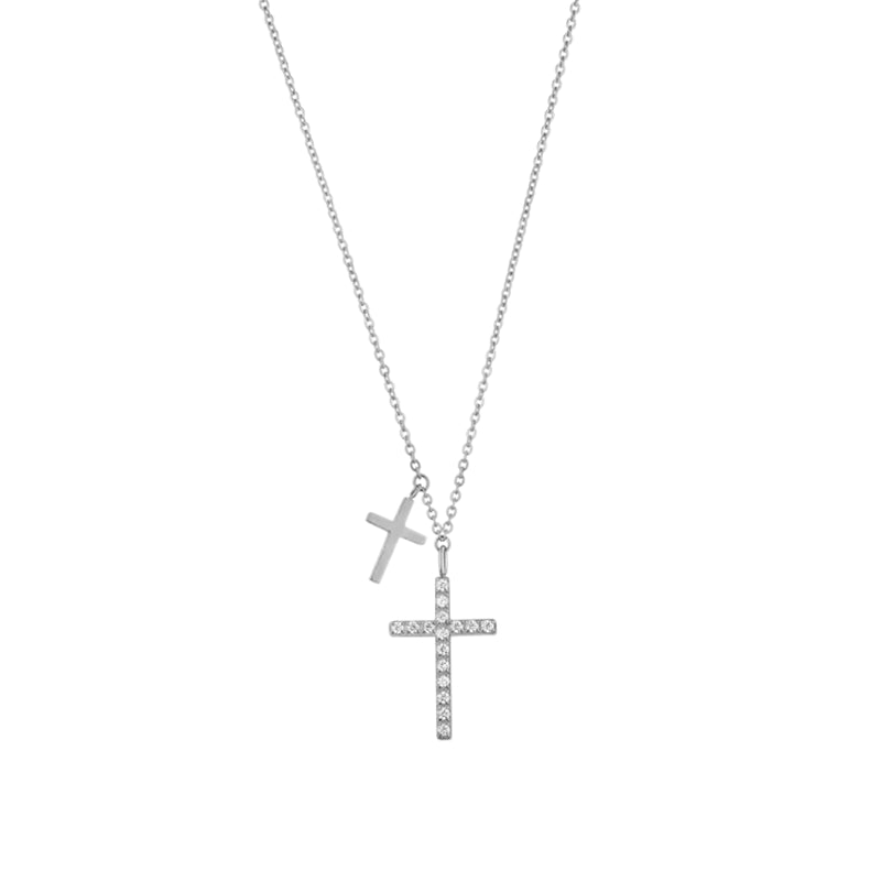 DOUBLE CROSS NECKLACE SILVER - Dreizack
