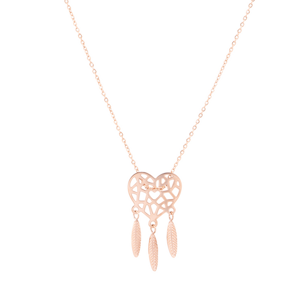 'DREAMCATCHER' NECKLACE ROSE GOLD - Dreizack