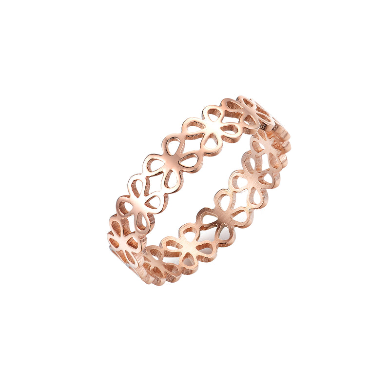 ENDLESS CLOVERLEAF RING ROSE GOLD - Dreizack Jewelry