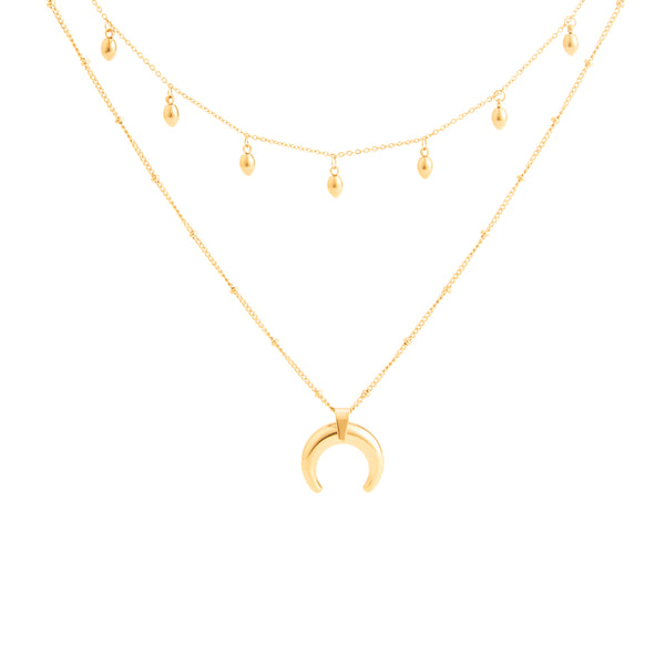 HALF MOON AND DROPS LAYERED NECKLACE GOLD - Dreizack Jewelry
