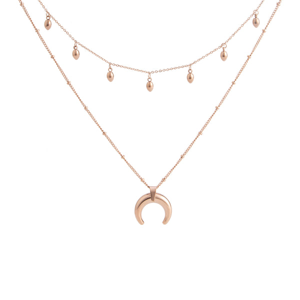 HALF MOON AND DROPS LAYERED NECKLACE ROSE GOLD - Dreizack Jewelry