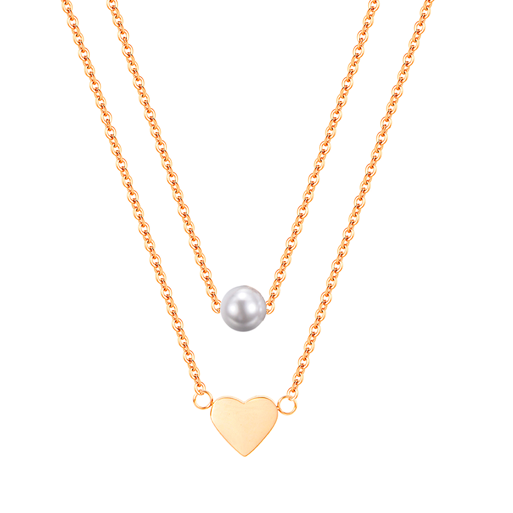 dreizack heart and pearl layered necklace gold halskette
