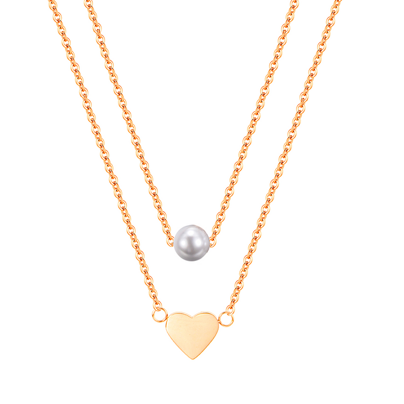 HEART AND PEARL LAYERED NECKLACE GOLD - Dreizack Jewelry