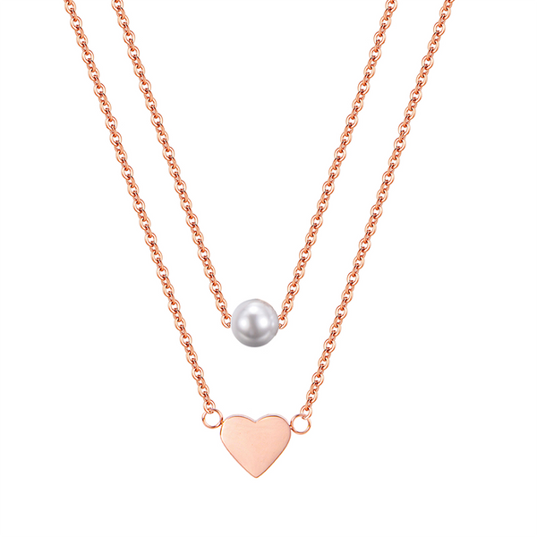 HEART AND PEARL LAYERED NECKLACE ROSE GOLD - Dreizack
