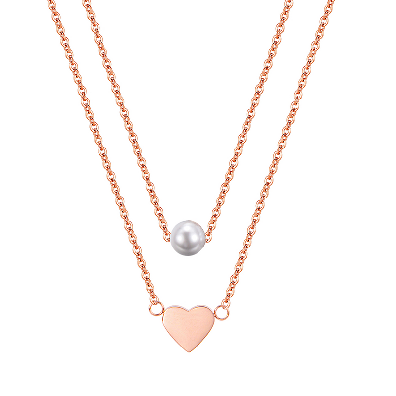 HEART AND PEARL LAYERED NECKLACE ROSE GOLD - Dreizack Jewelry