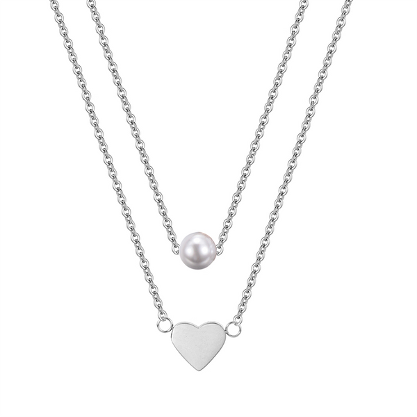 HEART AND PEARL LAYERED NECKLACE SILVER - Dreizack