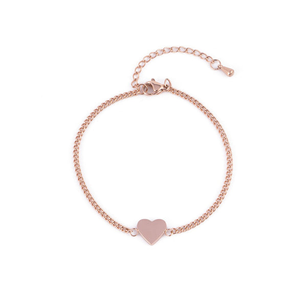 HEART BRACELET ROSE GOLD - Dreizack Jewelry
