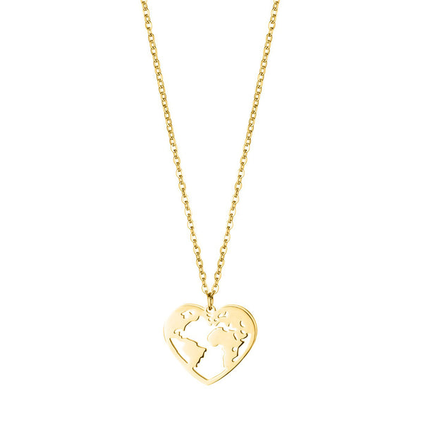 'LOVE THE WORLD' NECKLACE GOLD - Dreizack