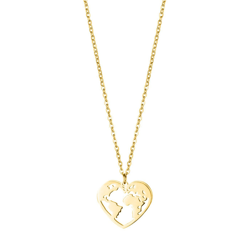 'LOVE THE WORLD' NECKLACE GOLD - Dreizack Jewelry