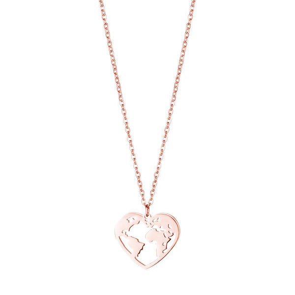 'LOVE THE WORLD' NECKLACE ROSE GOLD - Dreizack
