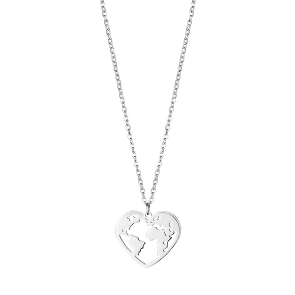 dreizack love the world necklace silver halskette