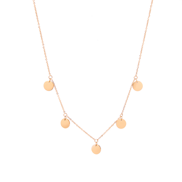 dreizack multi coin necklace rosegold halskette
