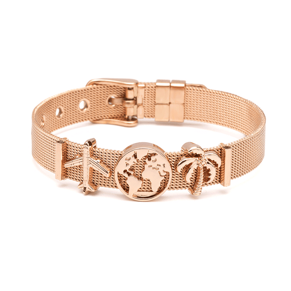 'TRAVEL THE WORLD' CHARMBAND SET ROSE GOLD - Dreizack Jewelry