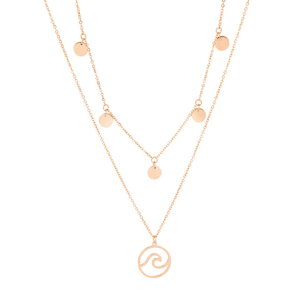 WAVE AND COINS LAYERED NECKLACE ROSE GOLD - Dreizack Jewelry