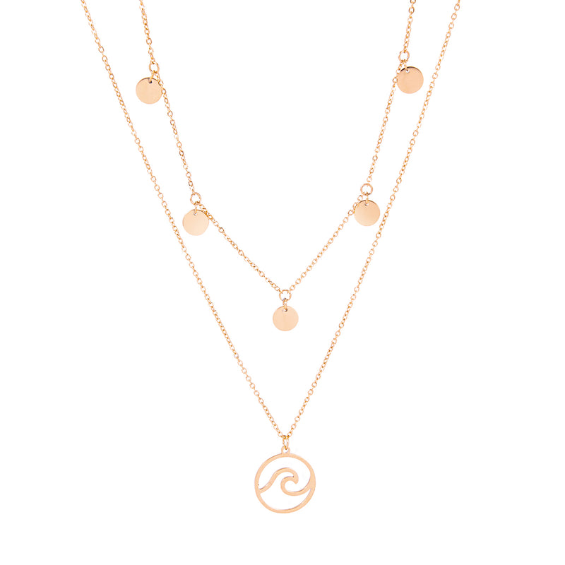 dreizack wave and coins layered necklace rosegold halskette