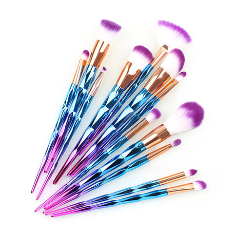12Pc Diamond Shaped Makeup Brush Set+Fish Foundation Brush