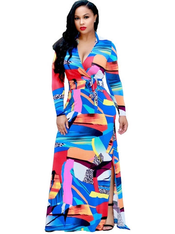 What a Color V Neck Split Women's Maxi Dress
