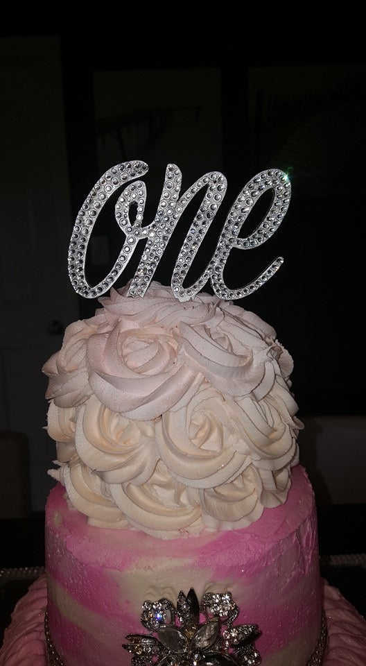 Load Image Into Gallery Viewer Gorgeous Swarovski Crystal 1st Birthday Cake Toppers In Any Number