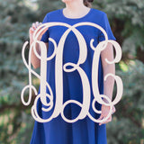 Woman holding three letter monogram sign
