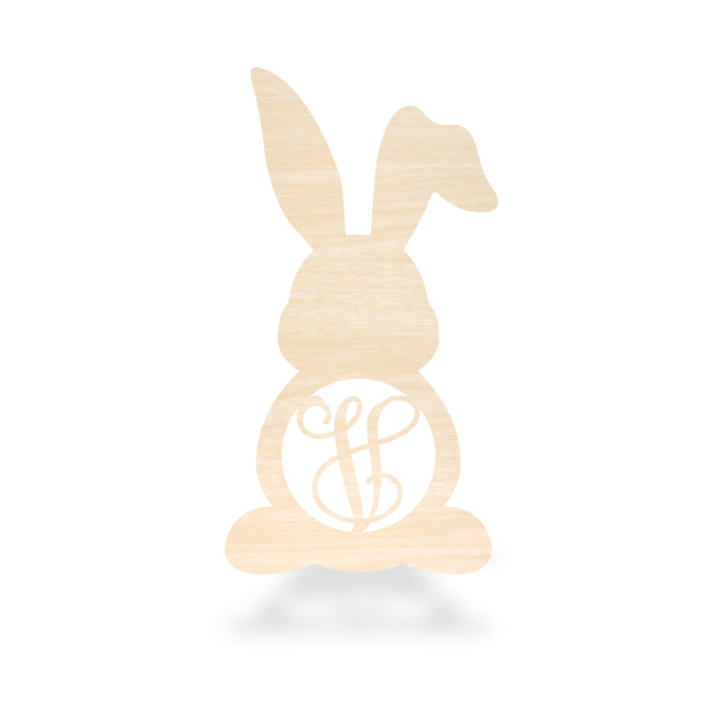 Bunny With Bent Ear Single Monogram Sign