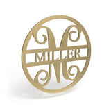 Circle Cut Last Name Wooden Monogram Sign