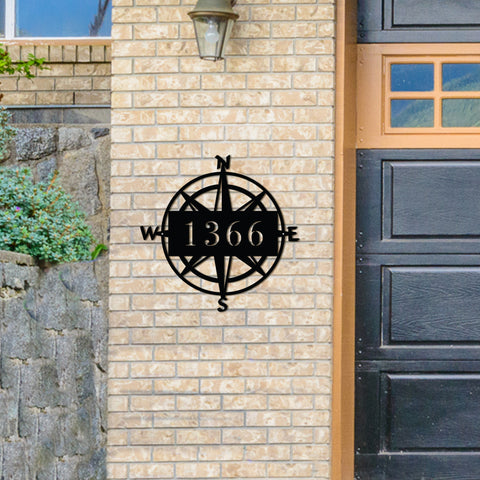 Metal Compass Address Sign